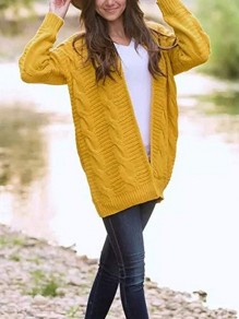 Yellow Twisted Rope No Buttons Long Sleeve Casual Outerwear