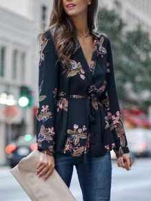 Black Floral Print Ruffle Deep V-neck Long Sleeve Casual Blouse