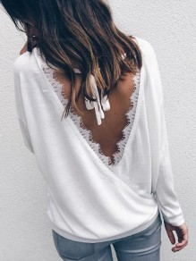 White Patchwork Lace Bow Long Sleeve Sweet Going out Blouse