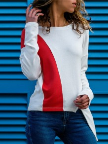 White Irregular Long Sleeve Round Neck Casual Going out Blouse