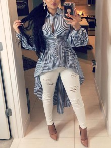 Blue White Striped Print Pearl Irregular Swallowtail Peplum High-Low Sweet Blouse