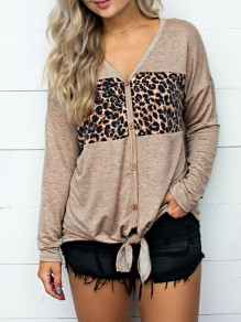 Brown Print Buttons V-neck Long Sleeve Going out Sweet Blouse