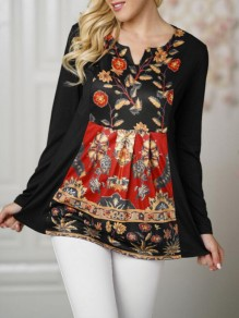 Black Floral Print Ruffle Deep V-neck Long Sleeve Bohemian Mexican Blouse