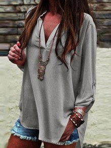 Grey Irregular V-neck Three Quarter Length Sleeve Fashion Blouse