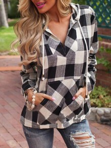 Black-White Plaid Pockets V-neck Long Sleeve Hooded Casual Blouse