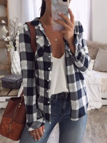 Black Plaid Long Sleeve V-neck Casual Sweet Going out Blouse