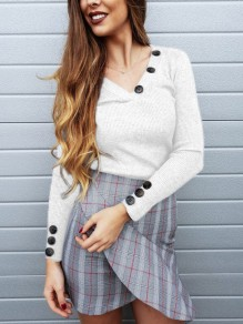 White Buttons V-neck Long Sleeve Casual Blouse