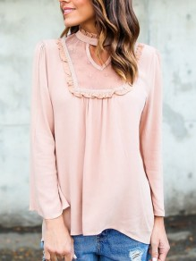Pink Patchwork Lace Cut Out Band Collar Long Sleeve Blouse