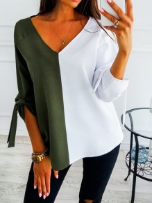 Green Color Block Print Lace-up V-neck 3/4 Sleeve Fashion Blouse