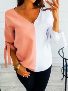 Pink Color Block Print Lace-up V-neck 3/4 Sleeve Fashion Blouse