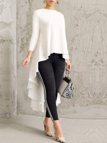 White Pleated High-Low Round Neck Long Sleeve Swallowtail Formal Elegant Blouse