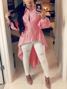 Red-White Striped Irregular Single Breasted Peplum High-low Turndown Collar Casual Blouse