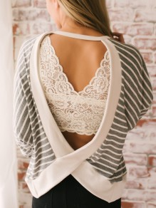 Grey White Striped Print Cut Out Backless Round Neck Casual Blouse