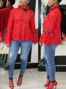 Red Patchwork Lace Bow Backless Long Sleeve Cute Casual Blouse
