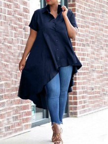 Deep Blue Swallowtail Irregular Single Breasted Turndown Collar High-low Casual Blouse