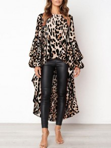 Khaki Leopard Print High-low Round Neck Lantern Sleeve Blouse