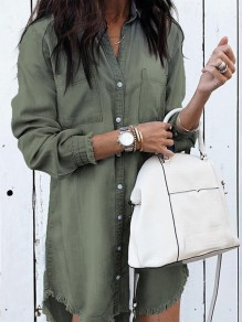 Green Buttons Turndown Collar Long Sleeve Fashion Blouse