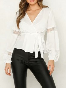 White Patchwork Lace V-neck Long Sleeve Fashion Blouse