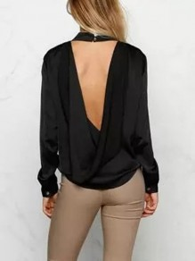Black Cut Out Irregular backless Band Collar Long Sleeve Fashion Blouse