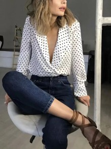White Polka Dot Print Turndown Collar Long Sleeve Vintage Blouse