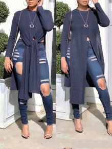 Purple Grey Irregular Front Slit High-Low Long Sleeve Round Neck Casual Blouse