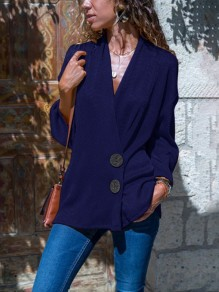 Blue Single Breasted V-neck Long Sleeve Casual Blouse