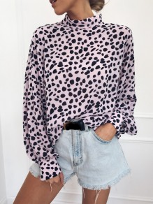 Pink Polka Dot Print Buttons Band Collar Long Sleeve Blouse