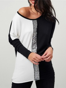 White Sequin Round Neck Long Sleeve Going out Blous