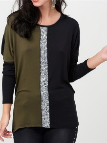 Green Sequin Round Neck Long Sleeve Going out Blous