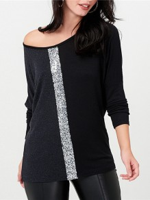 Grey Sequin Round Neck Long Sleeve Going out Blous