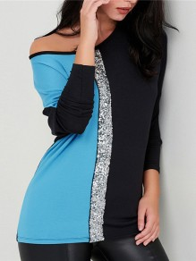 Blue Sequin Round Neck Long Sleeve Going out Blous