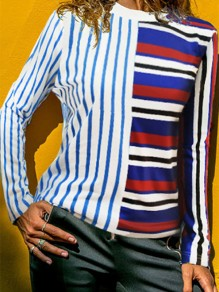 Multicolor Striped Hit Color Long Sleeve Fashion Blouse