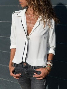 White Single Breasted Turndown Collar Long Sleeve Casual Blouse