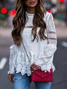 White Patchwork Lace Cut Out Long Sleeve Fashion Blouse