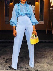 Light Blue Ruffle Round Neck Lantern Sleeve Elegant Party Blouse