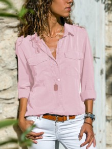 Light Pink Pockets Single Breasted Turndown Collar Long Sleeve Casual Blouse