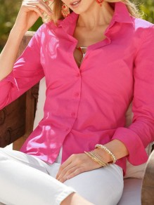 Chemisier boutonnage col à revers manches longues mode femme blouse rose framboise