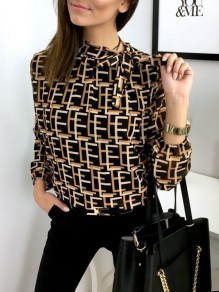 Black Geometric Belt Print Long Sleeve Fashion Blouse