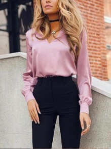 Pink Buttons V-neck Long Sleeve Elegant Casual Work Blouse