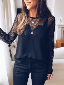 Black Patchwork Cut Out Lace Round Neck Long Sleeve Elegant Blouse