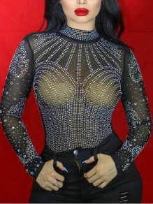 Black Grenadine Rhinestone Sheer Long Sleeve Sparkly Glitter Birthday New Year's Eve Party Blouse