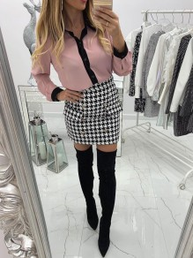 Pink Patchwork Buttons Square Neck Long Sleeve Fashion Blouse