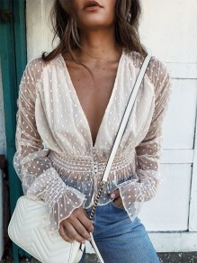 White Patchwork Lace V-neck Fashion Blouse