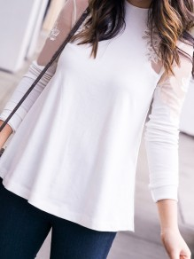 White Patchwork Lace Grenadine Round Neck Fashion Blouse