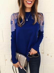 Blue Patchwork Lace Grenadine Round Neck Fashion Blouse