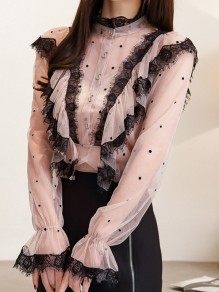 Lotus Pink Polka Dot Lace Ruffle High Neck Elegant Blouse