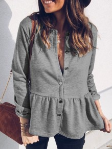 Grey Single Breasted Peplum Long Sleeve Falbala Fashion Blouse