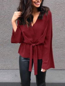Wine Red Sashes Irregular V-neck Long Sleeve Fashion Blouse