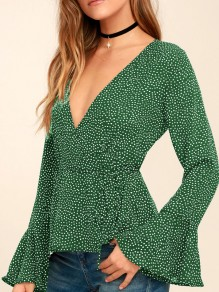 Green Polka Dot Sashes Bodycon Deep V-neck Going out Blouse