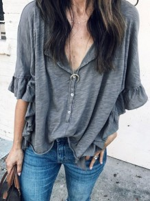 Grey Ruffle Buttons V-neck Half Sleeve Fashion Blouse